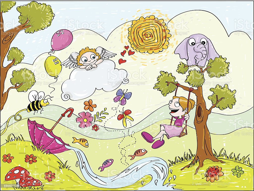 Child in dream garden vector art illustration