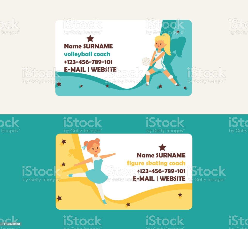 Kind Im Sportvektor Visitenkarte Mädchencharakter Spielen