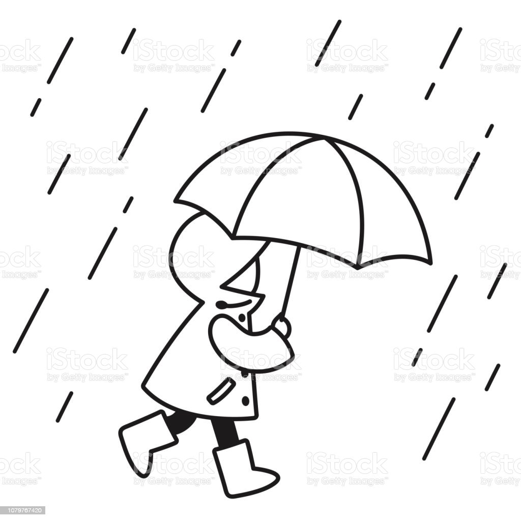 Child In The Rain Drawing Stock Illustration Download
