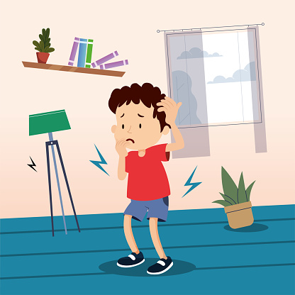 Child is afraid of earthquake, worried child is holding his head to protect his head. Items shake due to earthquake shaking. Illustration showing the situations experienced during the earthquake. Earthquake concept at home.