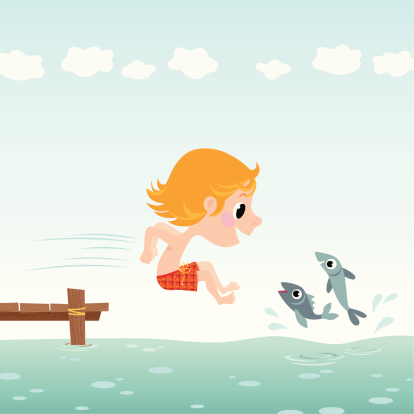 Child  jumps into water.