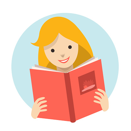 Child, kid reading a book. Flat vector.