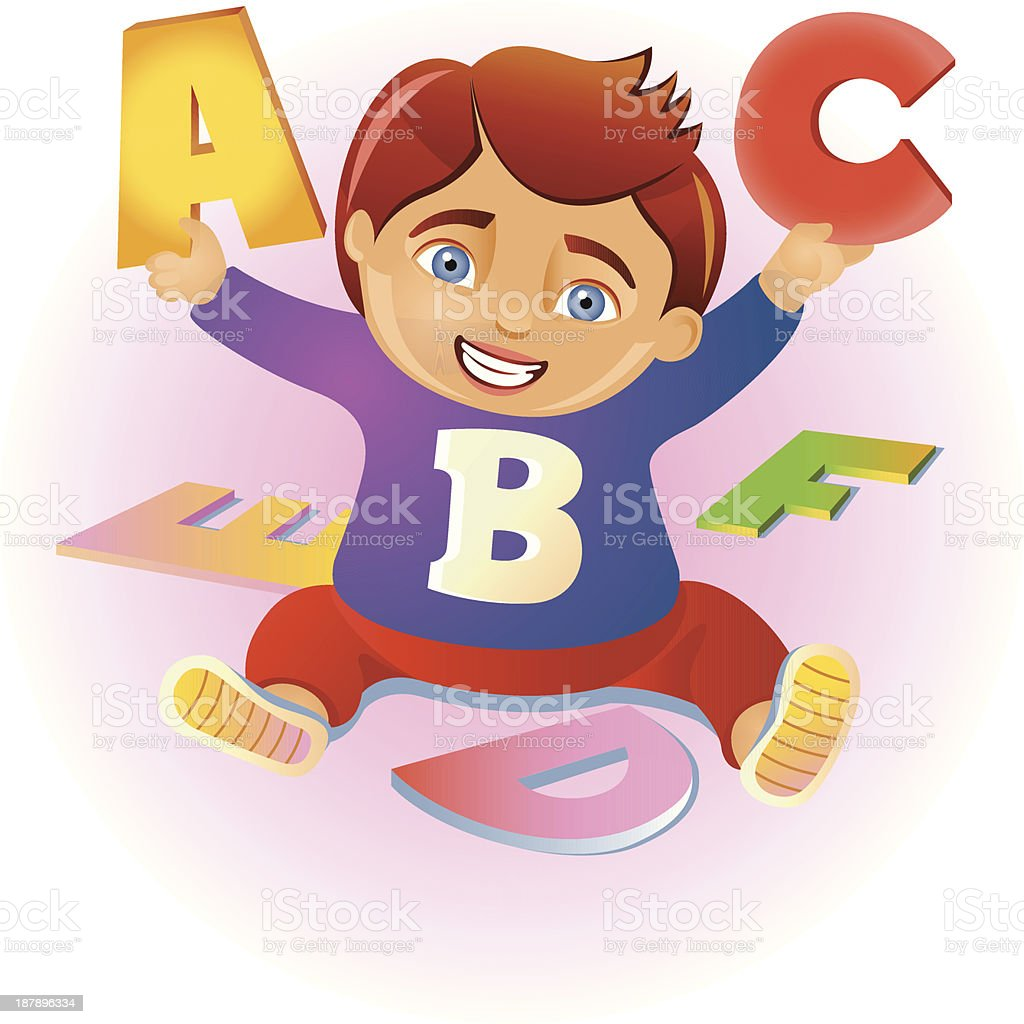 Child learns the alphabet royalty-free stock vector art