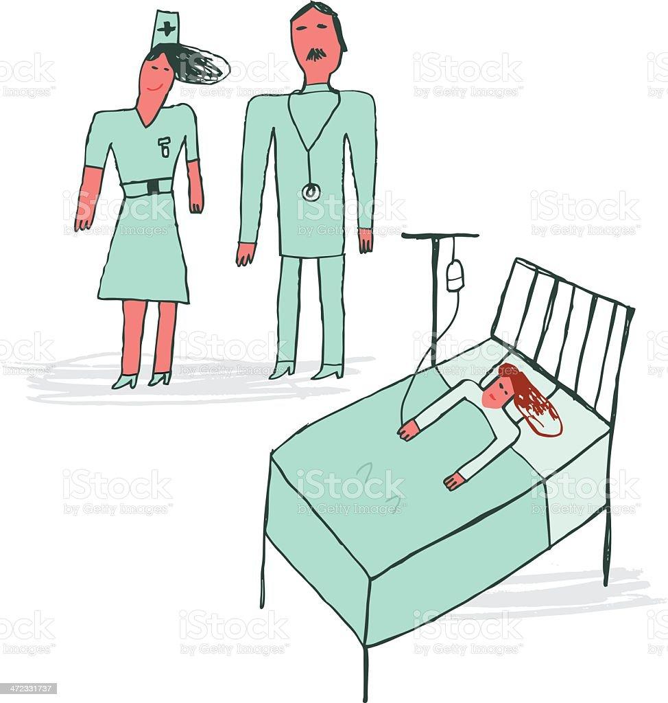 Kind Zeichnen Gemein Von Arzt Und Krankenschwester Und Patient Im