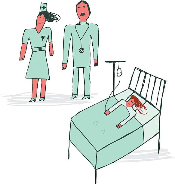 kind zeichnen gemein. von arzt und krankenschwester und patient im krankenhaus - gute besserung stock-grafiken, -clipart, -cartoons und -symbole
