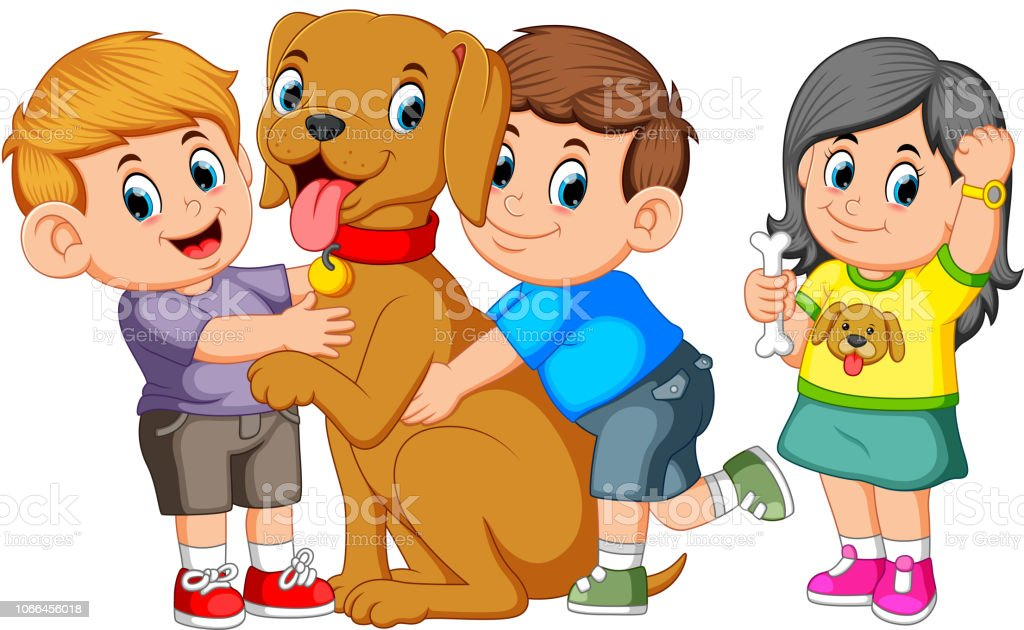 Child lovingly embraces his pet dog vector art illustration