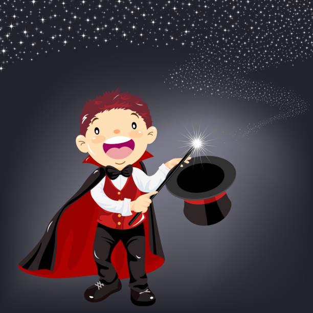 stockillustraties, clipart, cartoons en iconen met kind goochelaar prestaties - alleen één jongensbaby