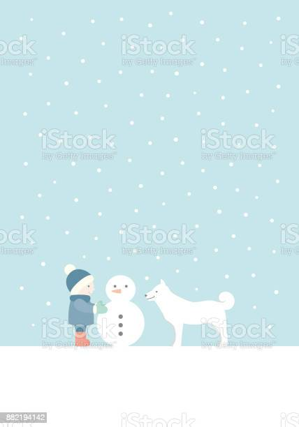 Child making a snowman with a white dog vector illustration vector id882194142?b=1&k=6&m=882194142&s=612x612&h=5elydr01wi45w0xbzm9 jjgna c3sd afhhnboufcbq=