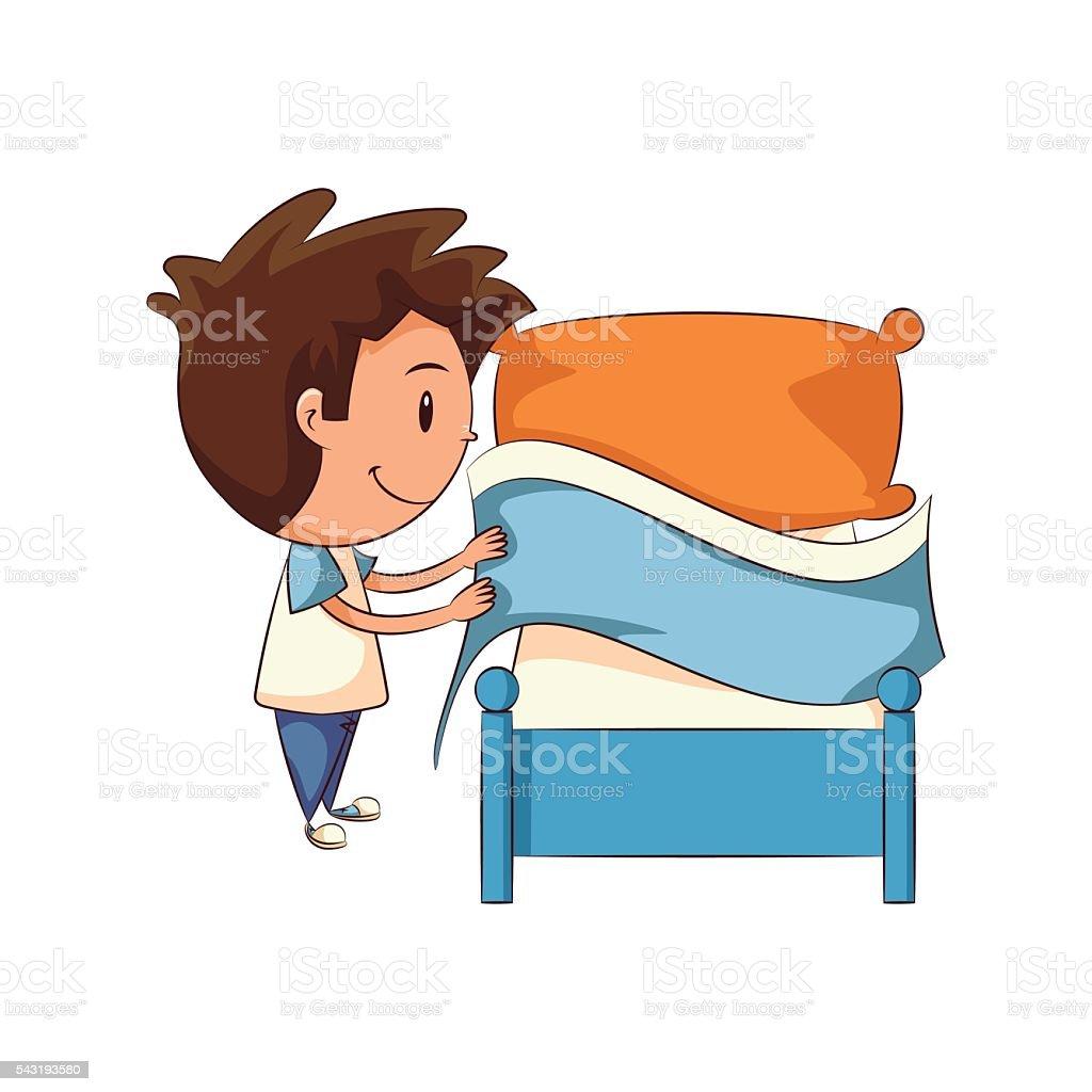 royalty free making bed clip art vector images illustrations istock rh istockphoto com boy make bed clipart make my bed clipart