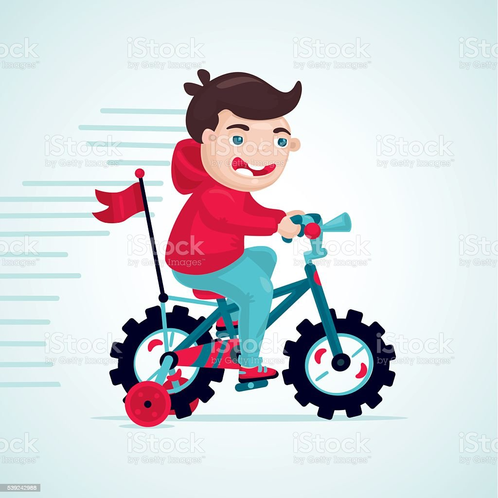 Child on a bike. Little boy is cycling kids bicycle. royalty-free child on a bike little boy is cycling kids bicycle stock vector art & more images of activity