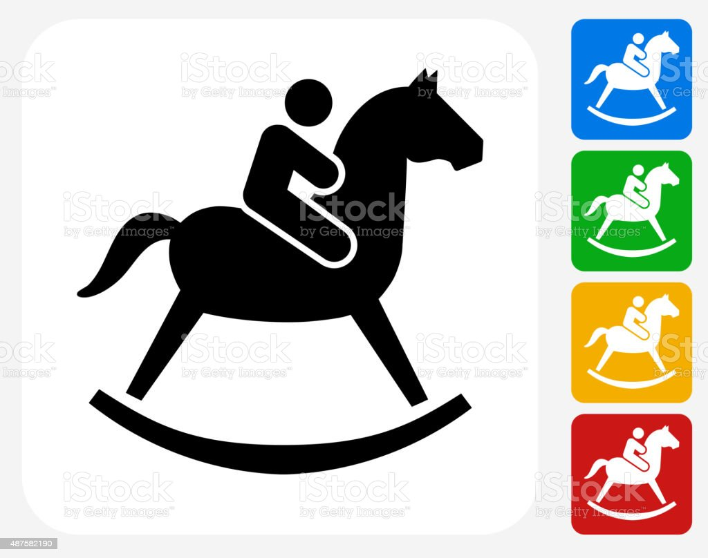 Child on a Toy Horse Icon Flat Graphic Design vector art illustration