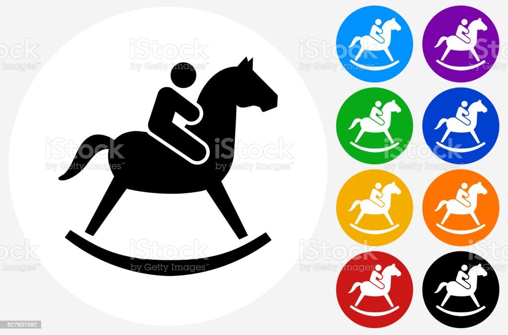 Child on  Toy Horse Icon on Flat Color Circle Buttons vector art illustration