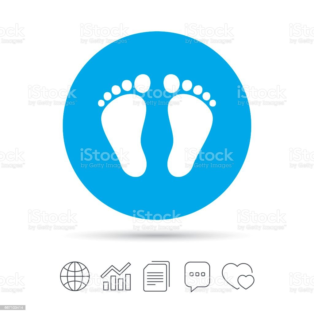 Child pair of footprint sign icon. Barefoot . vector art illustration