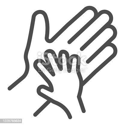 istock Child palm in adult hand line icon, 1st june Children protection day concept, Parent and kid hands sign on white background, outline style for mobile concept and web design. Vector graphics. 1225765634