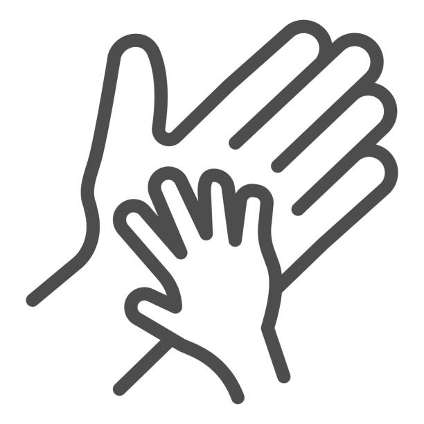 Child palm in adult hand line icon, 1st june Children protection day concept, Parent and kid hands sign on white background, outline style for mobile concept and web design. Vector graphics. Child palm in adult hand line icon, 1st june Children protection day concept, Parent and kid hands sign on white background, outline style for mobile concept and web design. Vector graphics human finger stock illustrations