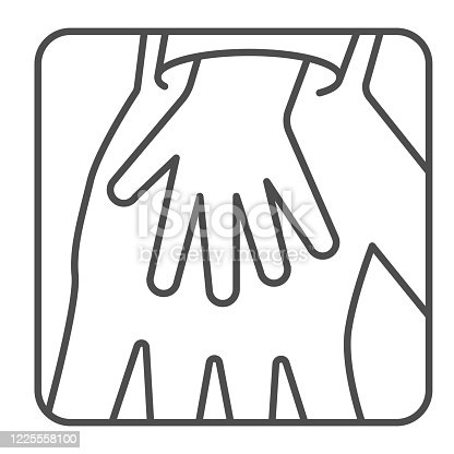 istock Child palm in adult hand thin line icon, Children protection symbol , Two hands silhouette vector sign on white background, Parent and kid hands icon in outline style for mobile concept, web design. 1225558100