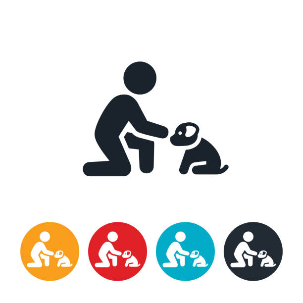 Child Petting Puppy Icon An icon of a child reaching out to pet a puppy dog. pets and animals stock illustrations
