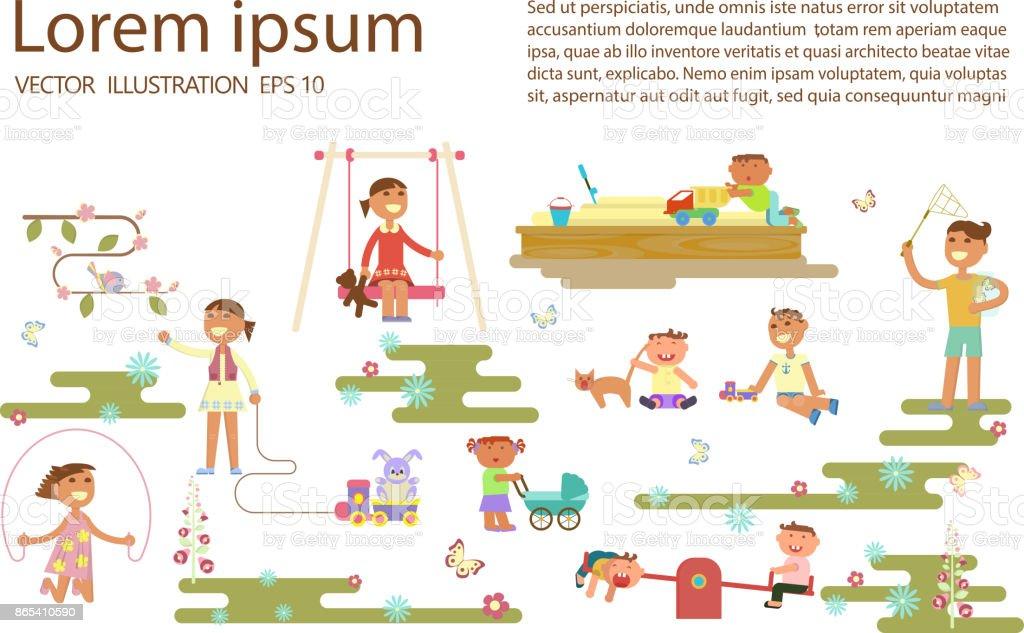 Child play outdoor vector art illustration