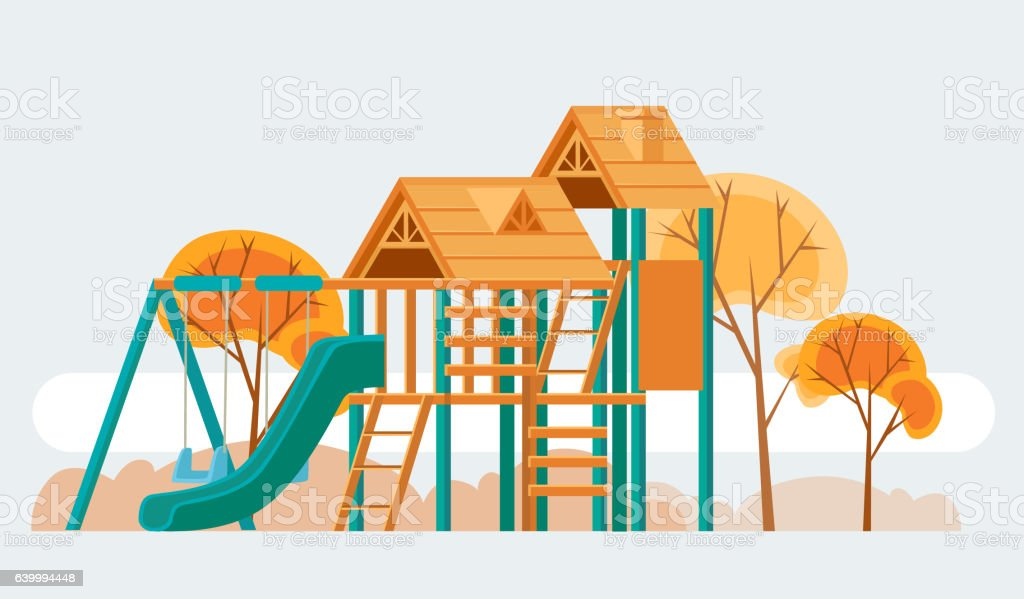 Child playground. Vector flat cartoon illustration - ilustración de arte vectorial