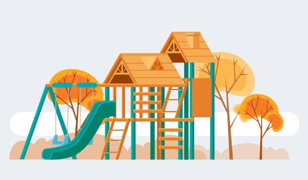 child playground. vector flat cartoon illustration - recess stock illustrations, clip art, cartoons, & icons