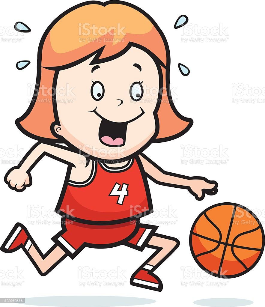 royalty free young girl dribbling basketball clip art vector images rh istockphoto com Cool Basketball Clip Art Cool Basketball Clip Art
