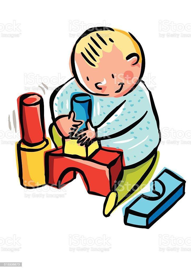Niño jugando construcción - ilustración de arte vectorial
