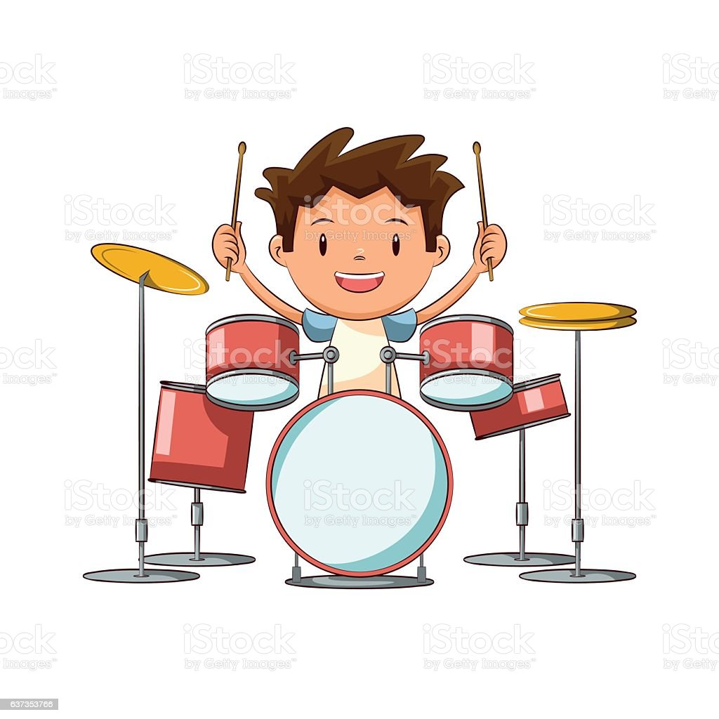 royalty free young drummer clip art vector images illustrations rh istockphoto com clipart drummer boy drummer clipart gif