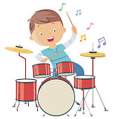 Vector Child playing drums