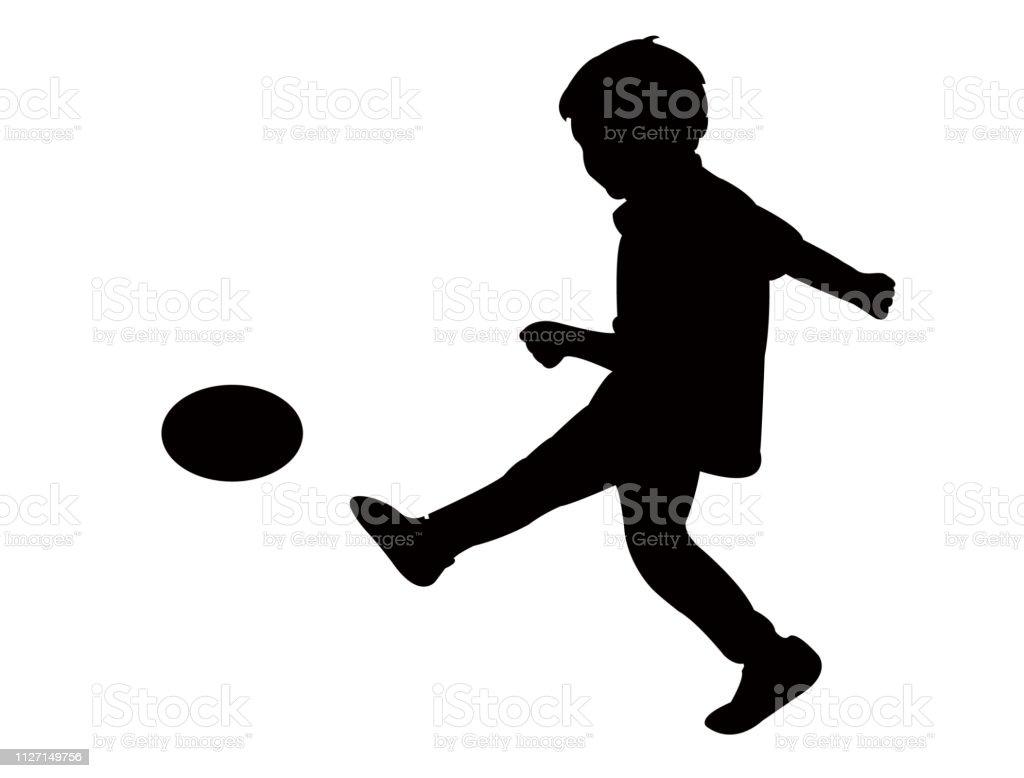 Kinder Spielen Fussball Silhouette Vektor Stock Vektor Art