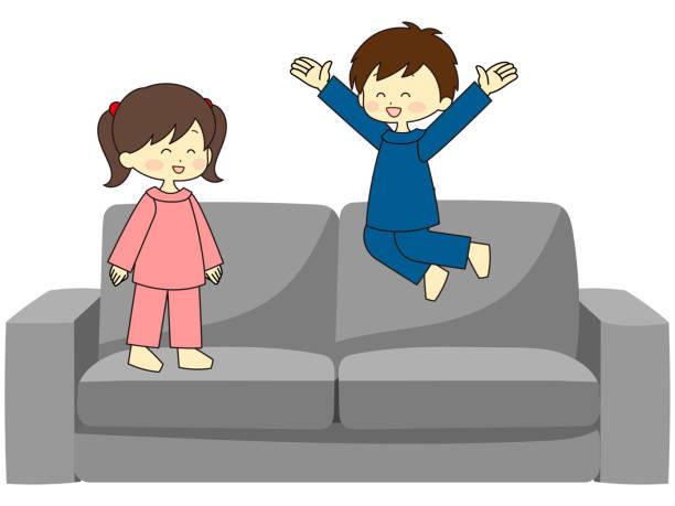 illustrazioni stock, clip art, cartoni animati e icone di tendenza di child playing on the couch - two students together asian