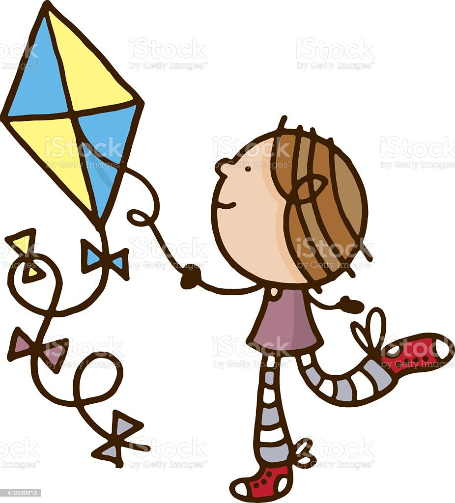Child playing with a kite royalty-free stock vector art