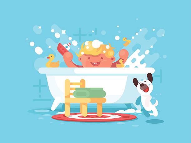 bildbanksillustrationer, clip art samt tecknat material och ikoner med child plays in bathroom - baby bathtub