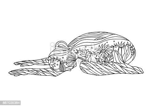 아이 포즈 요가 7 차크라 벡터 꽃 꽃 그리기 손으로 그린 그림 디자인 0명에 대한 스톡 벡터 아트 및