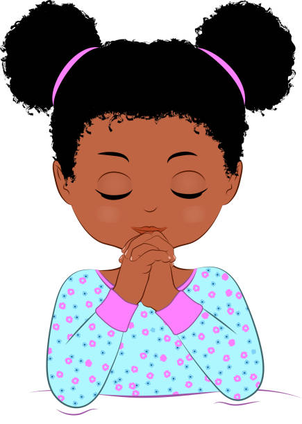 ilustrações, clipart, desenhos animados e ícones de praying da criança - menina negra