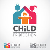 Vibrant vector logo depicting child protection - keep children safe. File includes vertical, horizontal and grayscale logo version. Logo is made from two adult persons male and female which are with hands creating a shape of a house above a small child icon in the middle.