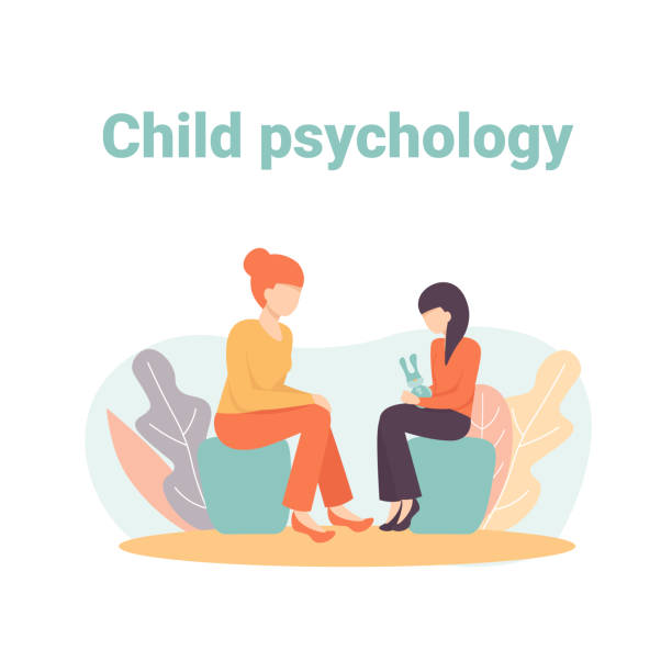 child psychology - therapist stock illustrations