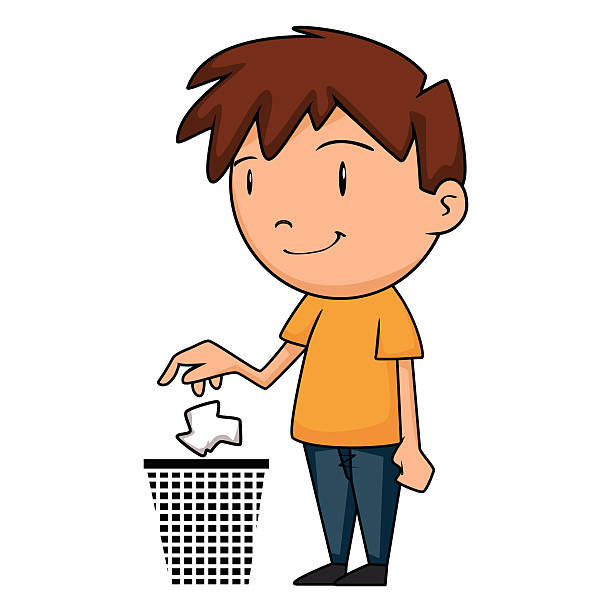 child putting garbage in trash can - child throwing garbage stock illustrations, clip art, cartoons, & icons