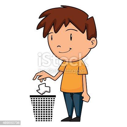Child Putting Garbage ...
