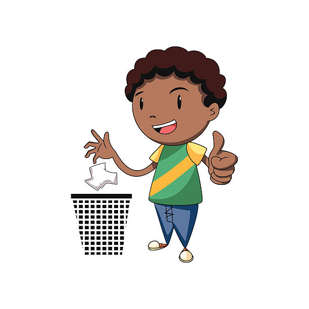 child putting trash in its place - child throwing garbage stock illustrations, clip art, cartoons, & icons