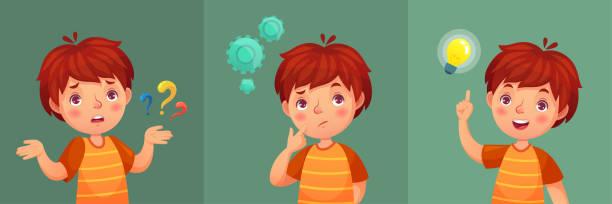 stockillustraties, clipart, cartoons en iconen met vraag van het kind. nadenkende jongen vraag, kid verward en begrijpen of gevonden antwoord cartoon vectorillustratie portret - alleen één jongensbaby