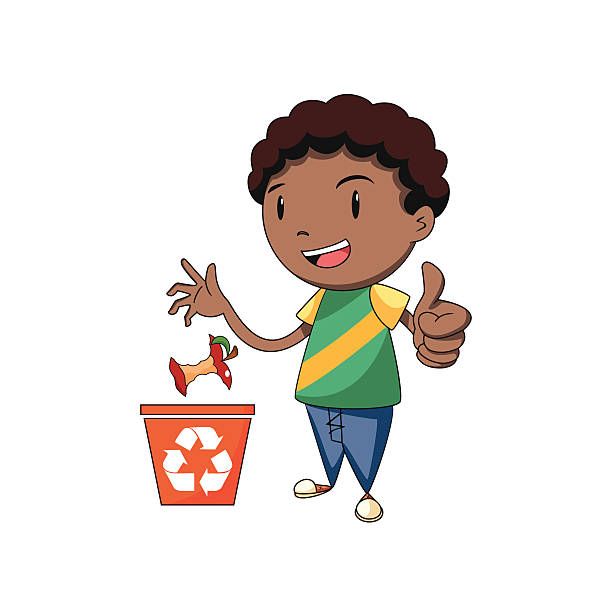 child recycling organic waste - child throwing garbage stock illustrations, clip art, cartoons, & icons