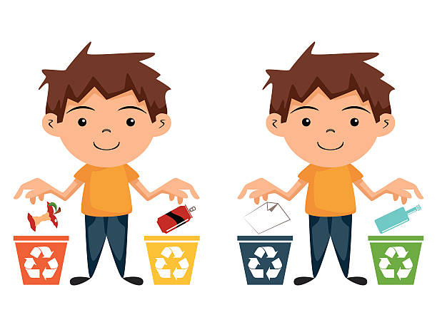 child recycling - child throwing garbage stock illustrations, clip art, cartoons, & icons