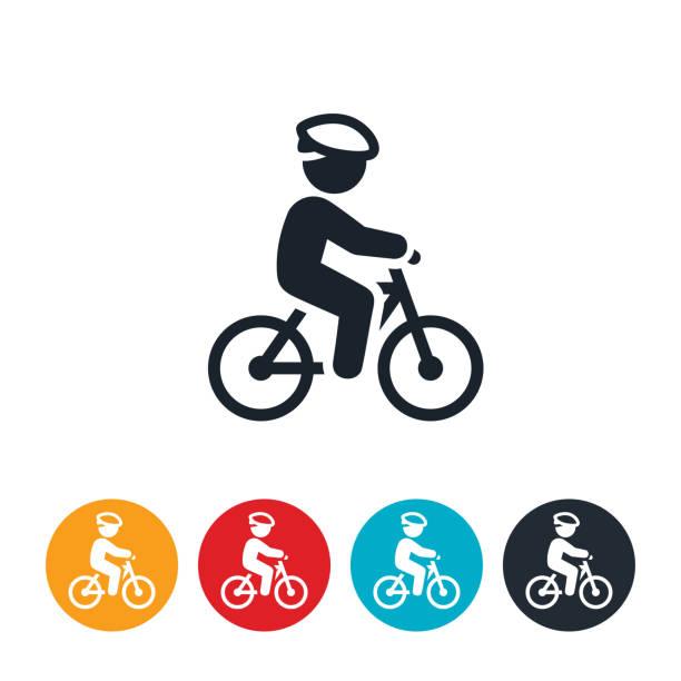 bildbanksillustrationer, clip art samt tecknat material och ikoner med barn ridning cykel ikon - cykla