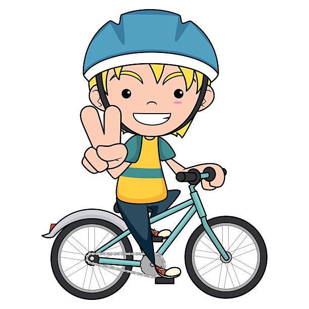 Child riding bike, vector illustration vector art illustration