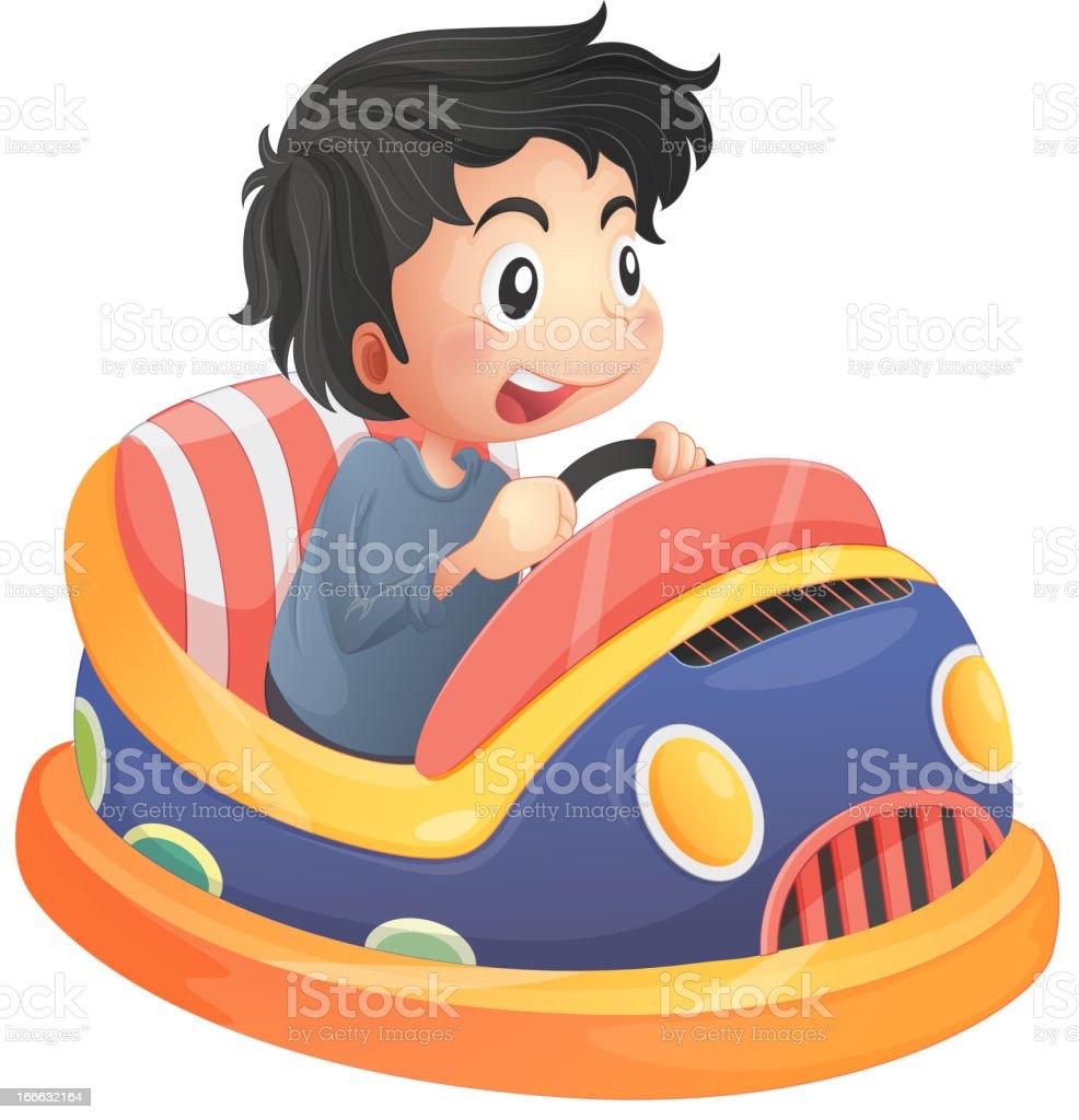 Niño ciclismo en un bumpcar - ilustración de arte vectorial