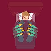 Dark, fear, bedtime, monster, creature, nightmare design concept