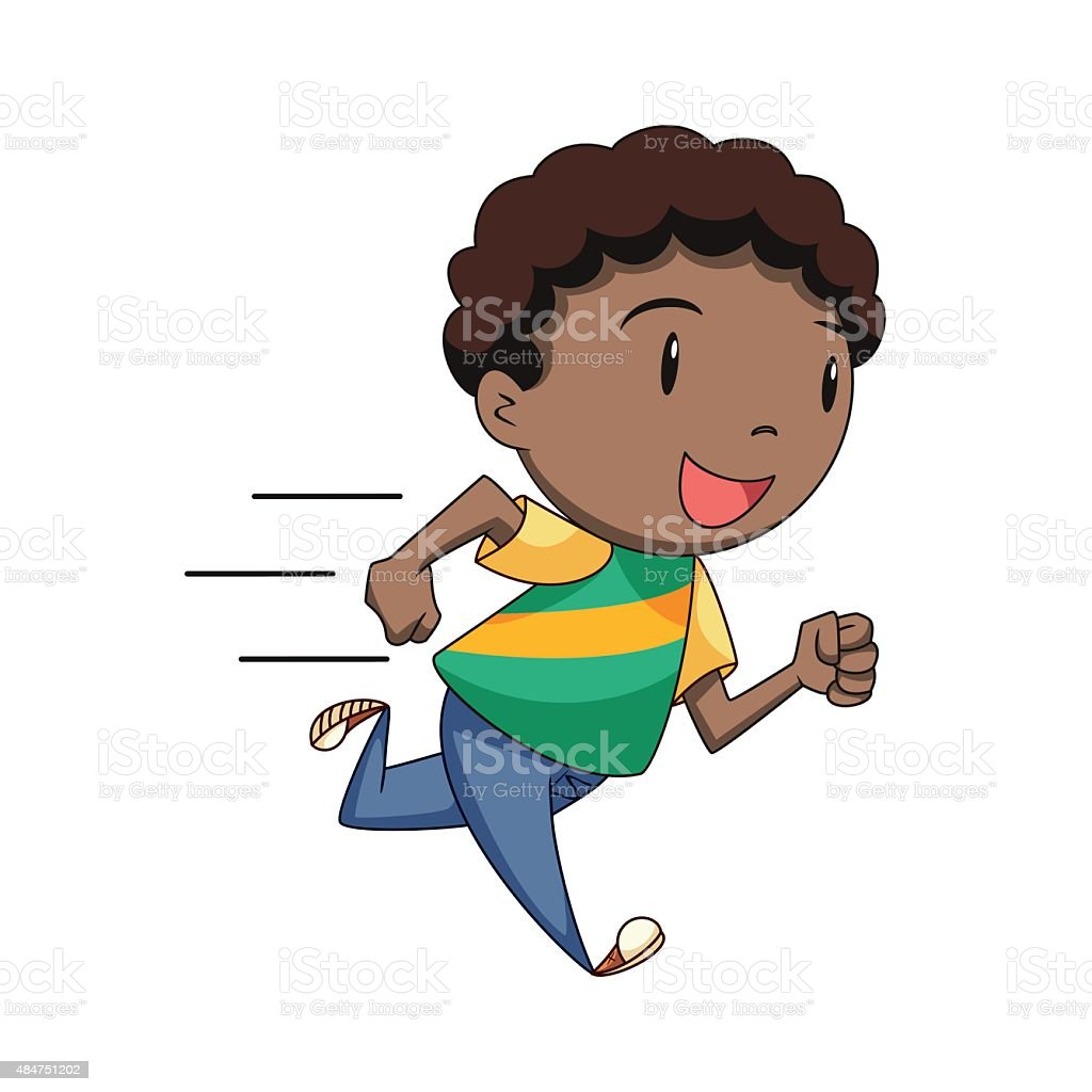 Child running, vector vector art illustration