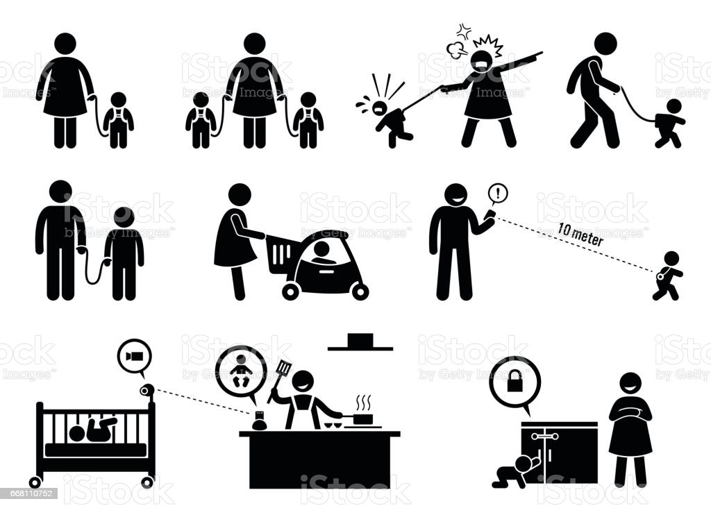 Child Safety and Monitor Equipment. vector art illustration