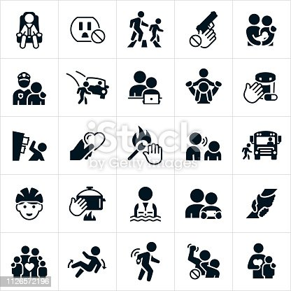 An icon set of child safety themes. The themes include children, toddlers, babies, child in car seat, electric outlet, parent and child crossing street in crosswalk, gun, police officer, internet safety, prescription medications, dresser falling over, matches, verbal abuse, school bus, bicycle helmet, hot stove, life jacket, rescue, family, fall, tracking device, child abuse, violence, child abuse prevention and other related themes.