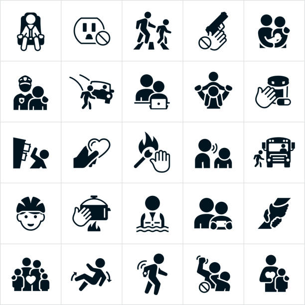 child safety icons - child abuse stock illustrations
